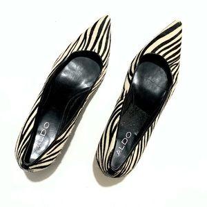 Aldo Zebra Print High Heels Womans Pointed Toe